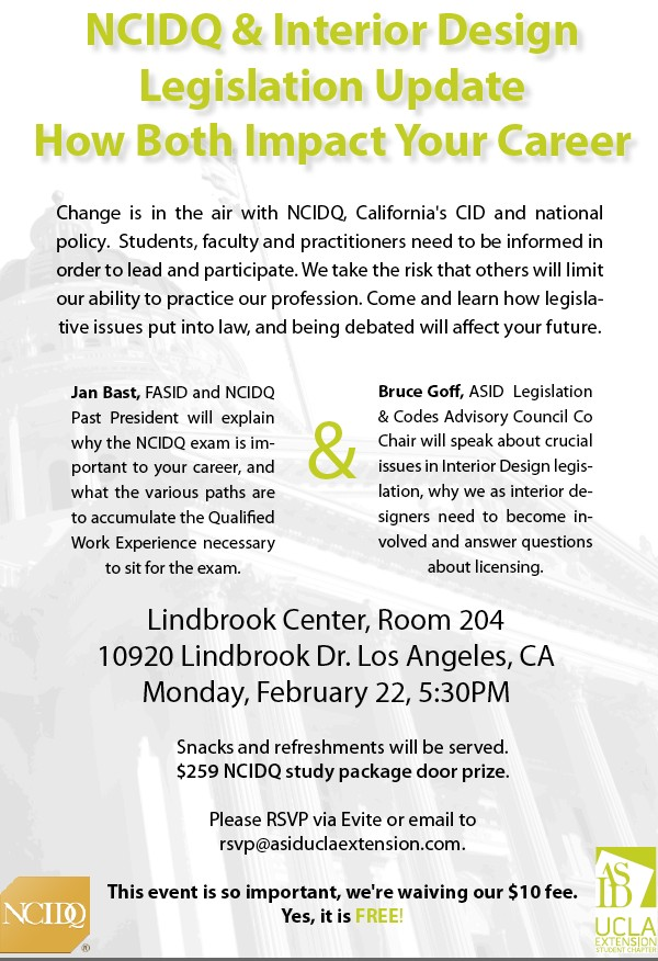 Asid Ucla Extension Chapter Ncidq Event Architecture Interior Design