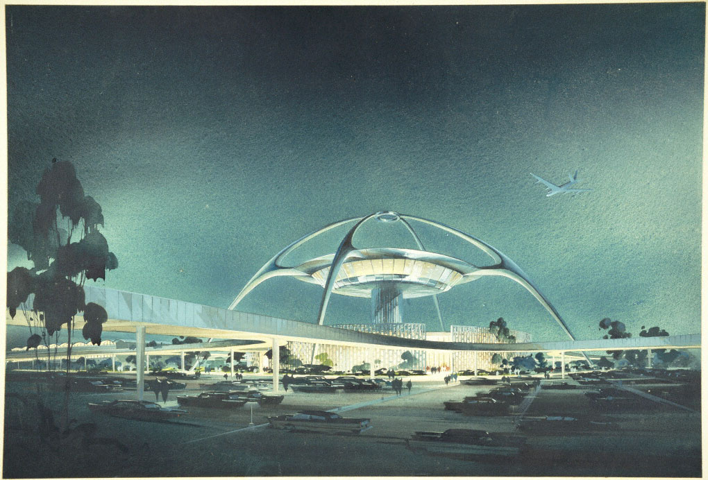 LAX, Theme Building; perspective view, 1961. Architects: William Pereira andCharles Luckman. Alan E. Leib Collection. © Luckman Salas O'Brien