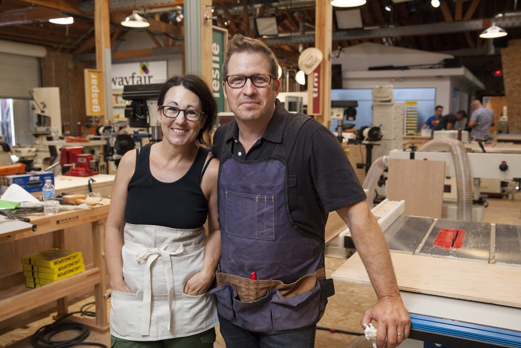 As seen on Ellen's Design Challenge, designer Leslie Shapiro Joyal (left) and lead carpenter David Sheinkopf (right)  team up to create unique furniture designs.