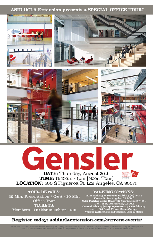Join ASID UCLA Extension for a tour of the Gensler Headquarters