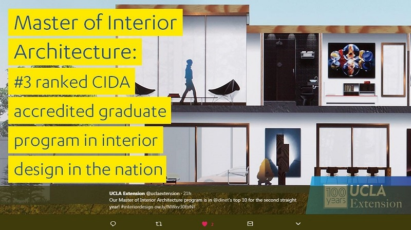 UCLA Extensions Masters of Interior Architecture CIDA Ranked 3 in