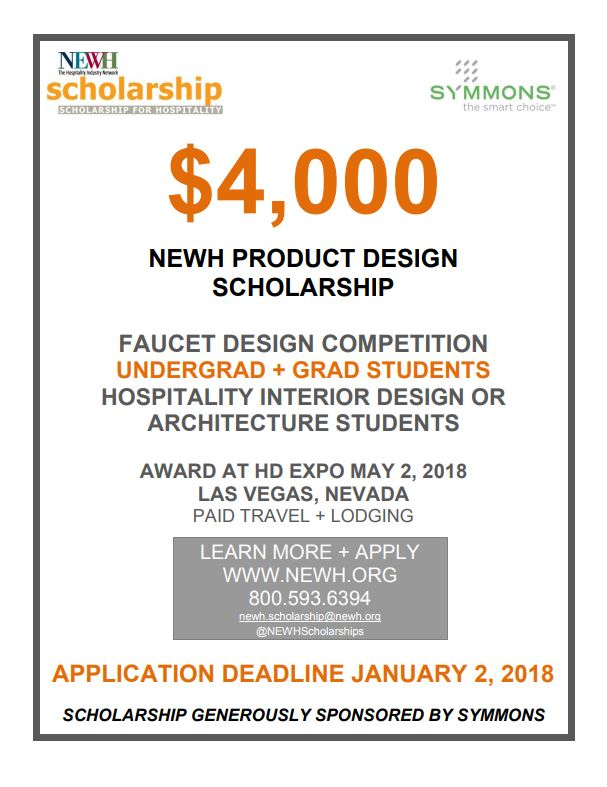 NEWH, Inc. Is Offering The 5th Annual NEWH Product Design Competition  $4,000 Scholarship Sponsored By Symmons. The Scholarship Is Open To Interior  Design Or ...