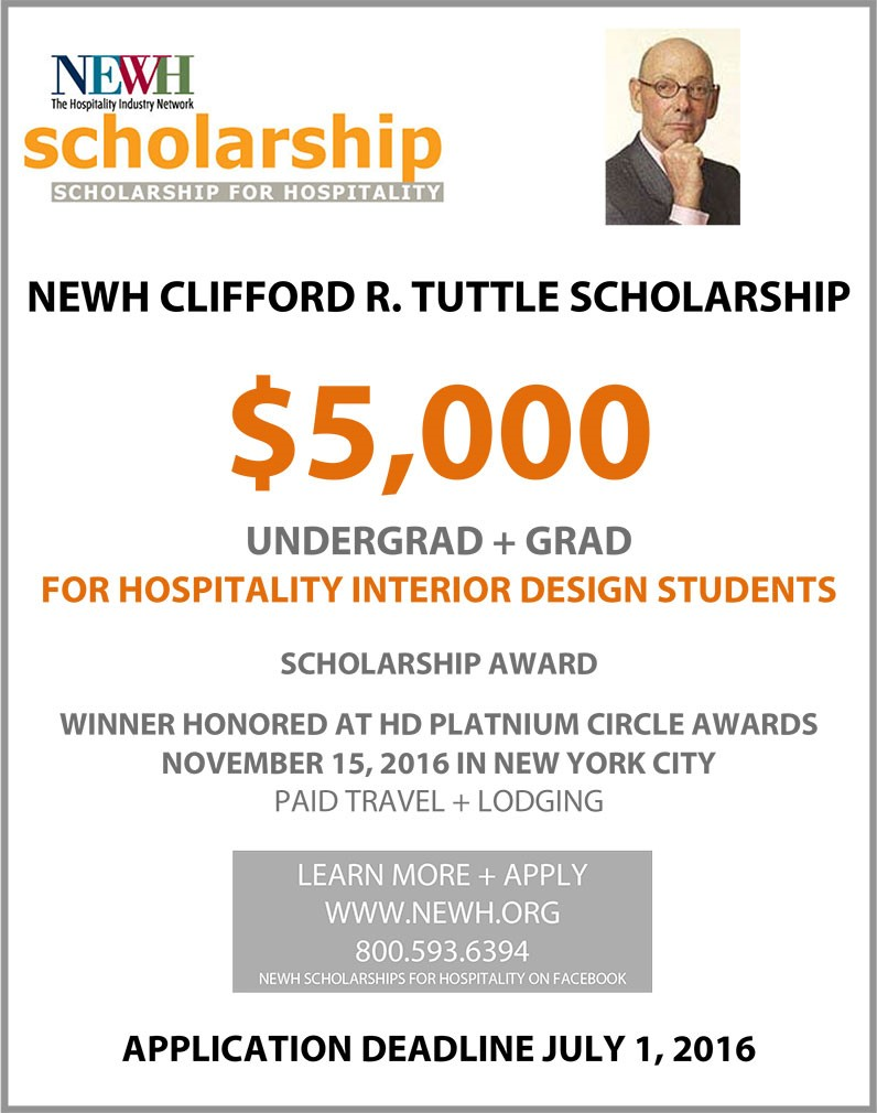 $5,000 NEWH - Clifford R. Tuttle Scholarship for Hospitality Interior Design Students